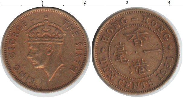 Картинка Монеты Гонконг 10 центов Медь 1951