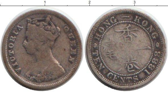Картинка Монеты Гонконг 10 центов Серебро 1888