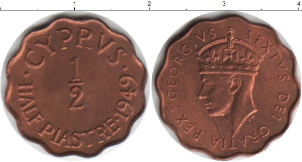 Картинка Монеты Кипр 1/2 пиастра Медь 1949