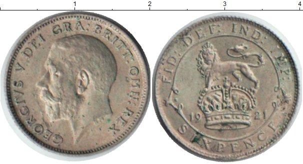 Картинка Монеты Великобритания 6 пенсов Серебро 1921