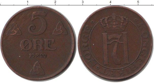 Картинка Монеты Норвегия 5 эре Медь 1922