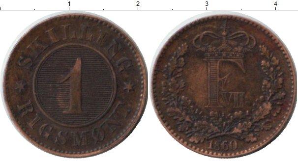 Картинка Монеты Дания 1 скиллинг Медь 1860