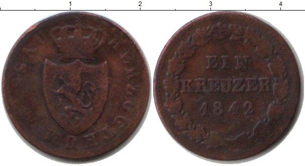 Картинка Монеты Нассау 1 крейцер Медь 1842