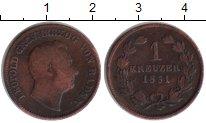 Изображение Монеты Баден 1 крейцер 1851 Медь VF Леопольд