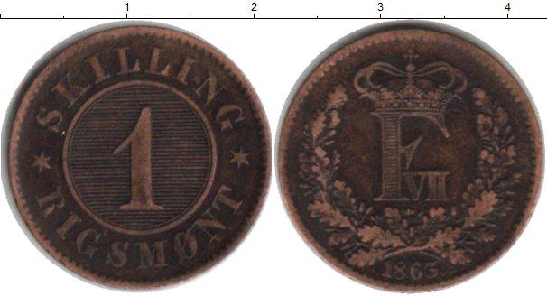 Картинка Монеты Дания 1 скиллинг Медь 1863