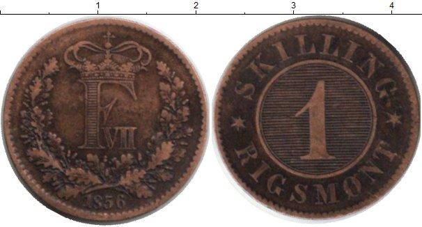 Картинка Монеты Дания 1 скиллинг Медь 1856