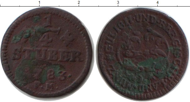 Картинка Монеты Берг 1/4 стюбера Медь 1783