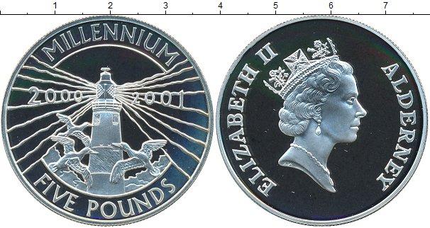 Картинка Монеты Олдерни 5 фунтов Серебро 2000