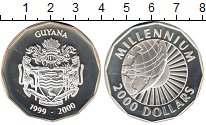 Изображение Монеты Гайана 2000 долларов 1999 Серебро XF Миллениум 2000. Земн