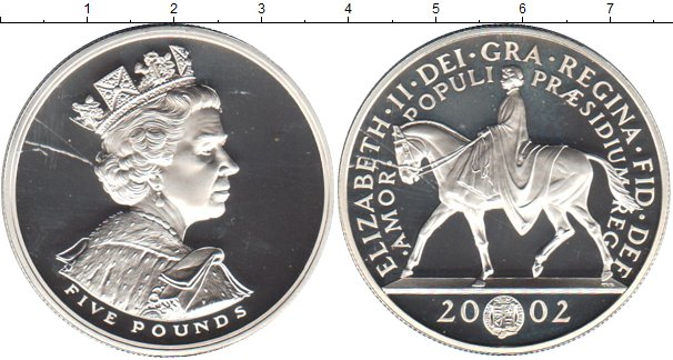 Картинка Монеты Великобритания 5 фунтов Серебро 2002