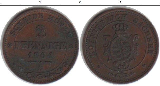 Картинка Монеты Саксония 2 пфеннига Медь 1864