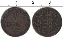 Изображение Монеты Вюртемберг 1/2 крейцера 1864 Медь VF
