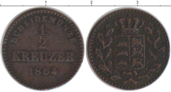 Картинка Монеты Вюртемберг 1/2 крейцера Медь 1864