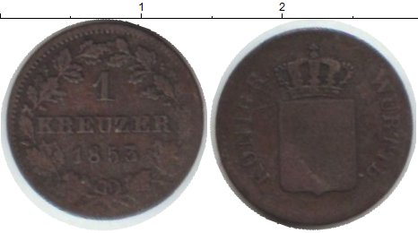 Картинка Монеты Вюртемберг 1 крейцер Медь 1853