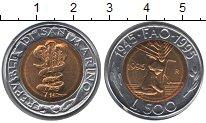 Изображение Монеты Сан-Марино 500 лир 1995 Биметалл UNC- `50 лет ФАО. Ребенок