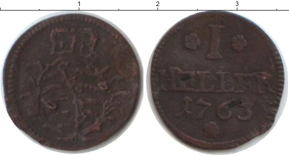 Картинка Монеты Саксония 1 геллер Медь 1763