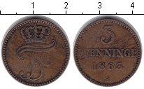 Изображение Монеты Мекленбург-Шверин 3 пфеннига 1863 Медь XF