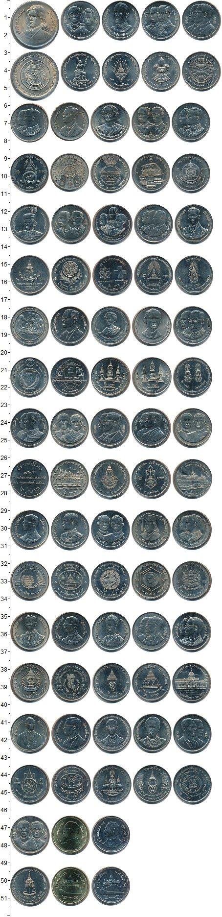 Изображение Наборы монет Таиланд 2 бата полная серия монет 0 Медно-никель UNC- В наборе 43 монеты.