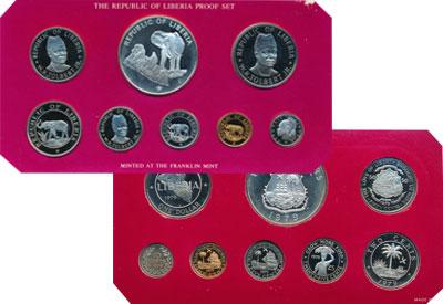 Изображение Подарочные монеты Либерия Любовь к свободе привела нас сюда 1978  Proof Представляем Вашему