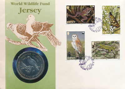 Изображение Подарочные монеты Остров Джерси 25-летие Фонда Охраны Дикой Природы 1987 Медно-никель UNC