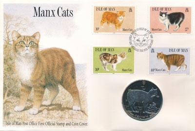 Изображение Подарочные наборы Остров Мэн Мэнская кошка 1988 Медно-никель UNC Представляем Вашему