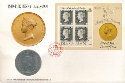 Изображение Подарочные наборы Остров Мэн Почтовая марка 1990 Медно-никель UNC