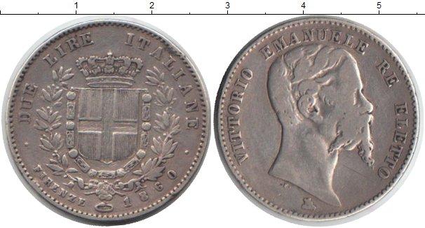 Картинка Монеты Италия 2 лиры Серебро 1860