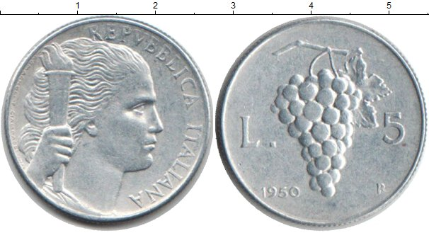 Картинка Монеты Италия 5 лир Алюминий 1950