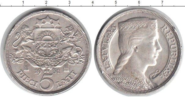 Картинка Монеты Латвия 5 лат Серебро 1931
