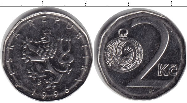 Картинка Дешевые монеты Чехия 2 кроны Медно-никель 1996