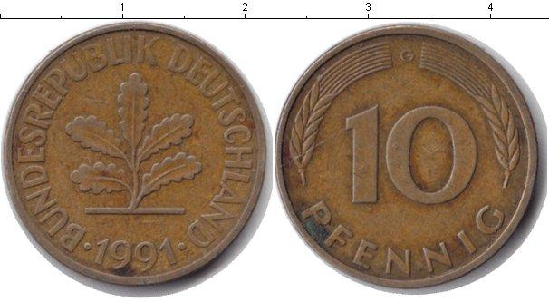 Картинка Барахолка ФРГ 10 пфеннигов Медь 1991