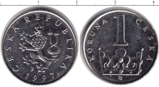 Картинка Барахолка Чехия 1 крона Медно-никель 1997