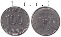 Изображение Барахолка Южная Корея 100 вон 1994 Медно-никель VF