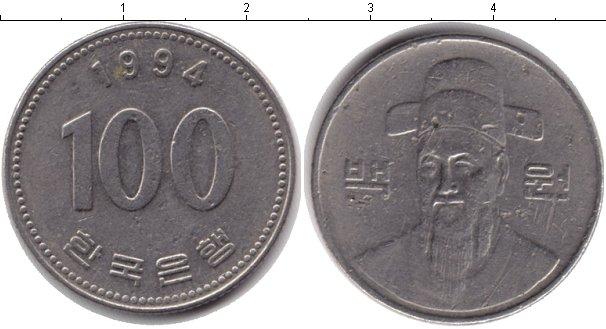 Картинка Дешевые монеты Южная Корея 100 вон Медно-никель 1994