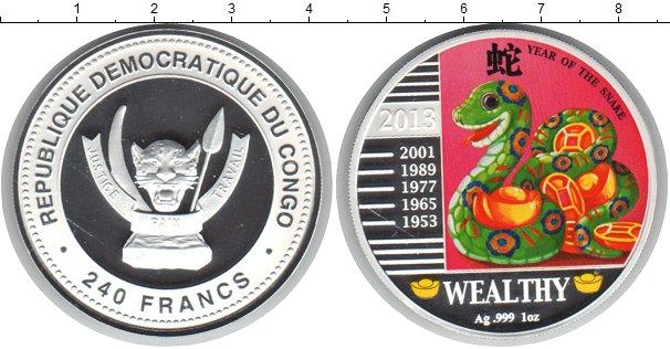 Картинка Монеты Конго 240 франков Серебро 2013