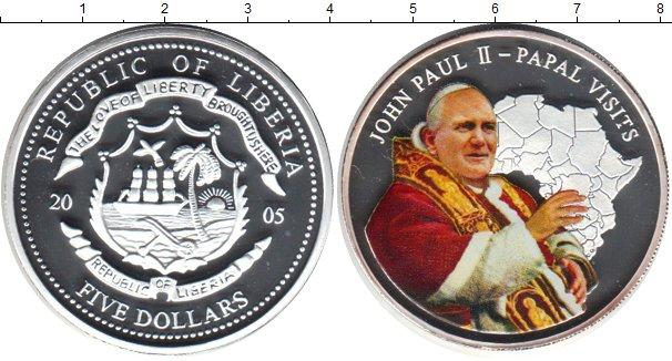 Картинка Монеты Либерия 5 долларов Серебро 2005