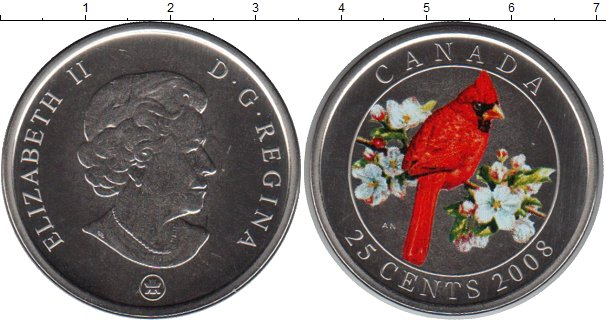 Картинка Монеты Канада 25 центов Медно-никель 2008