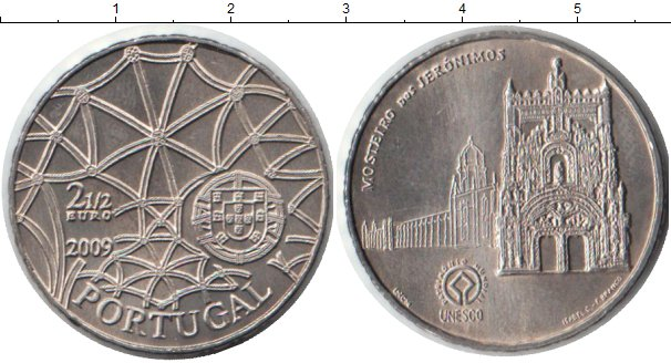 Картинка Монеты Португалия 2 1/2 евро Медно-никель 2009