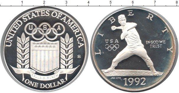 Картинка Монеты США 1 доллар Серебро 1992