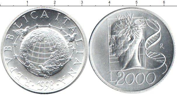 Картинка Монеты Италия 2.000 лир Серебро 1998