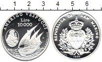 Изображение Монеты Сан-Марино 10.000 лир 1995 Серебро Proof Америго Веспуччи
