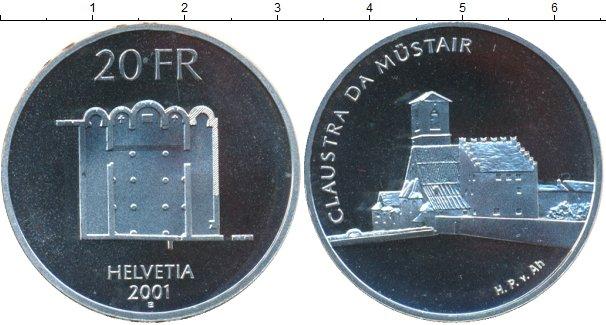 Картинка Монеты Швейцария 20 франков Серебро 2001