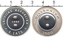 Изображение Монеты Латвия 1 лат 1999 Серебро Proof- Милениум