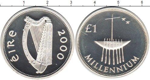 Картинка Монеты Ирландия 1 фунт Серебро 2000