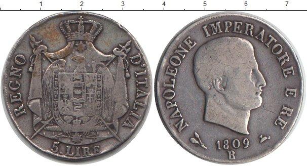 Картинка Монеты Италия 5 лир Серебро 1809
