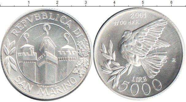 Картинка Монеты Сан-Марино 5.000 лир Серебро 2001