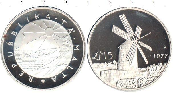 Картинка Монеты Мальта 5 фунтов Серебро 1977