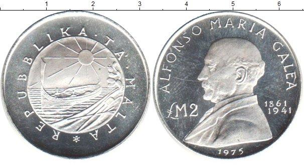 Картинка Монеты Мальта 2 фунта Серебро 1975