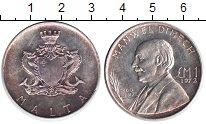 Изображение Монеты Мальта 1 фунт 1972 Серебро XF Мануэль Димех.