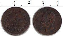 Изображение Монеты Италия 2 сентесимо 1867 Медь XF Виктор Эмануил II
